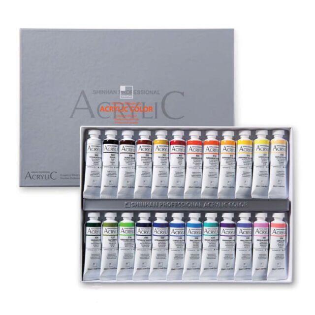 Acrylic Colour Paint Set Shinhan Professional 24 Colours 20ml Tube Drawing