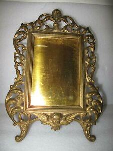 French Standing Brass picture frame Ornate Cherub Angel 12x8