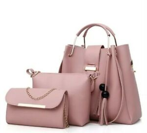 Leather Handbags Sets Pink New 2020