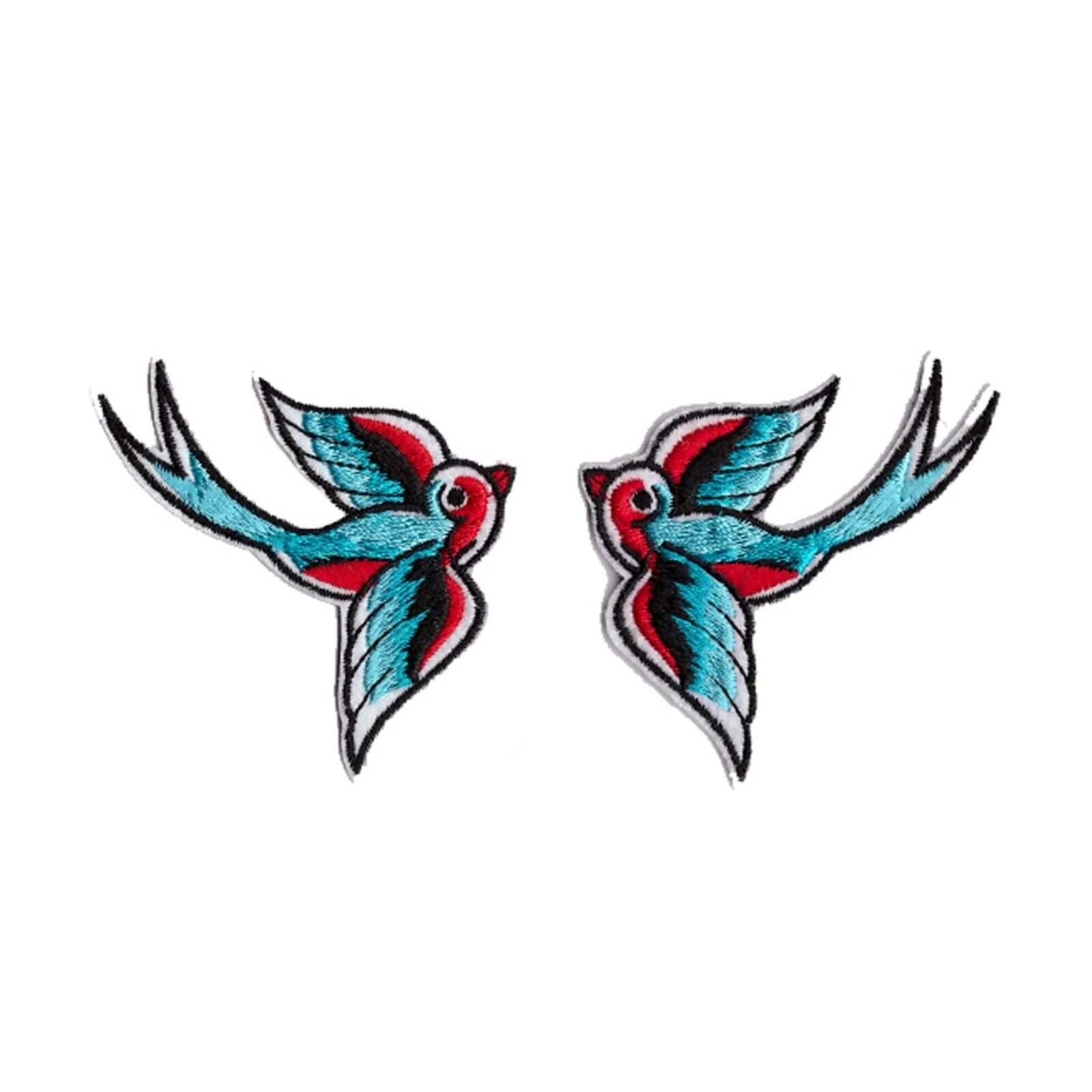 SWALLOW PATCH Embroidered Iron On ROCKABILLY BIRD PIN-UP TATTOO ROCK N/' ROLL NEW