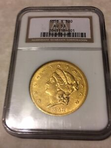 1858-S AU53 NGC Liberty Double Eagle Type1 $20 Gold Coin great appeal (not PCGS)