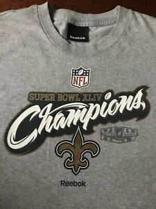 promo code dd252 6a9b3 Details about Reebok Gray New Orleans Saints Super Bowl XLIV Championship T  Shirt Tee Youth