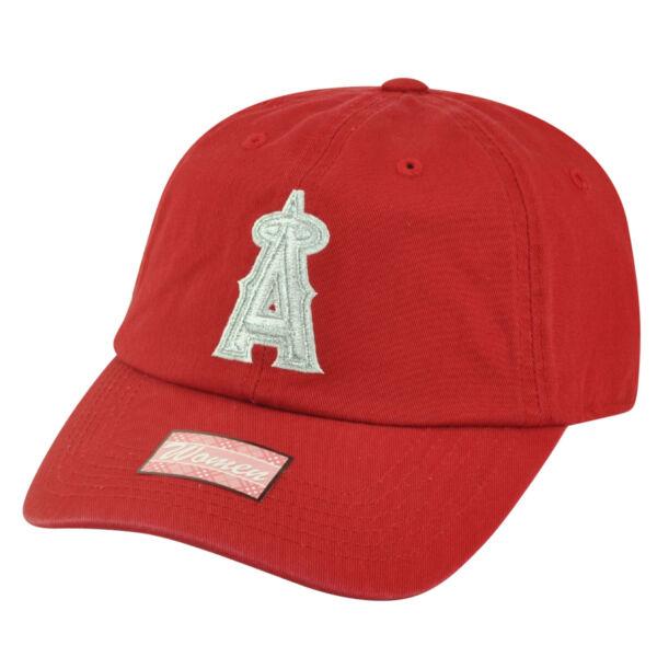 100% Vero Mlb Los Angeles Da Donna Garment Wash Sole Fermaglio Cappello Shiver Rosso