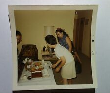 Vintage 70s PHOTO Asian Family Enjoying Cookies Cake & Pie Retro Home Lamp Shade