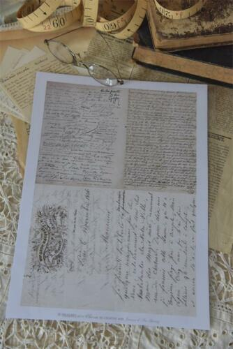 Jeanne d´Arc Living Vintage Bastelbogen Nostalgie Schrift Postkarte Shabby