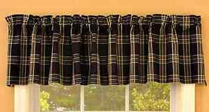 Details About New Country Primitive Rustic Black Tan Plaid Homespun Window Valance Curtains