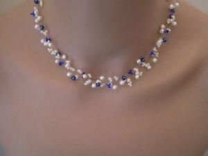 Collier Ivoire Blanc bleu roi foncé robe Mariée Mariage Soirée perle ... f9b650a112ea