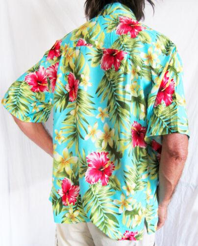 "Bruyant Chemise Hawaïenne Bleu Clair avec hibiscis fleurs M 50/"" Stag Night Party New"