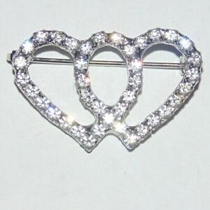 Vintage-2-interlocking-hearts-prong-set-rhinestone-silver-tone-small-pin-brooch