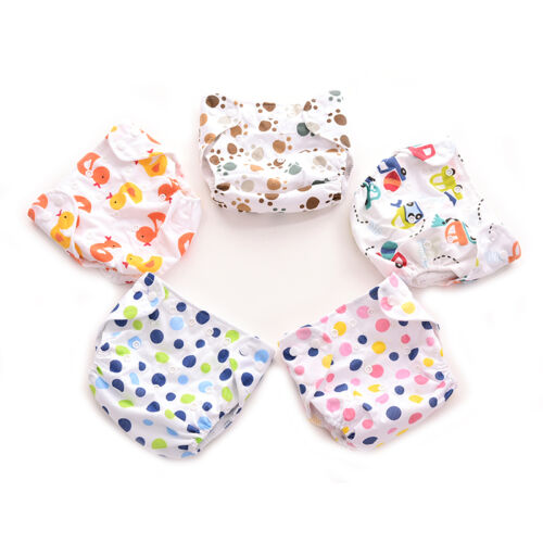 1x Adjustable Wash Reusable Cloth Wrap for Newborn Baby Cover snap WaterprZY