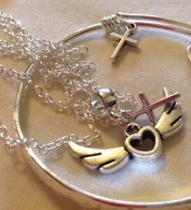 """Sterling Sil 18"""" Chain & Pendente Charm Cuore Alato + Bracciale con Charm &/in Abox"""
