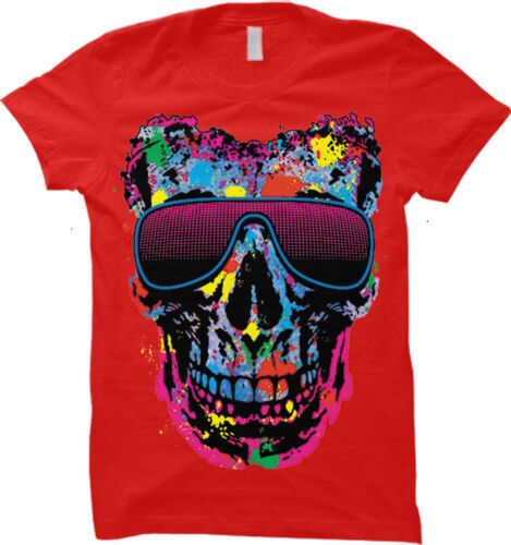 Cool Summer Womens T-shirt Skull With Neon Shades