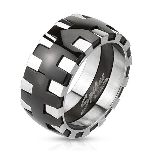 Dual Tone Black IP Silver Gear Strip Stainless Steel Wedding Band Mens Ring