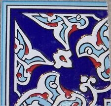 "Raised Navy & Red 4""x4"" Turkish Iznik Carnation Design Ceramic Tile Corner"