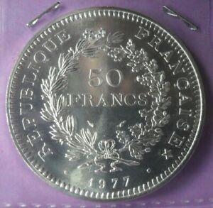 50-Francs-Hercule-1977-FDC-piece-de-monnaie-Francaise-ARGENT-N4