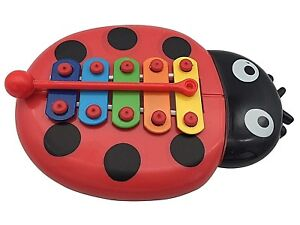 BEETLE-XYLOPHONE-5-Note-Red-Musical-Toy-Baby-Kids-Child-Development-Wisdom-UK