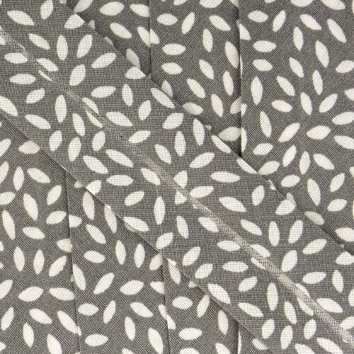 Free Postage La Stephanoise Leaves Print Cotton Bias Binding 25mm 12 Colours