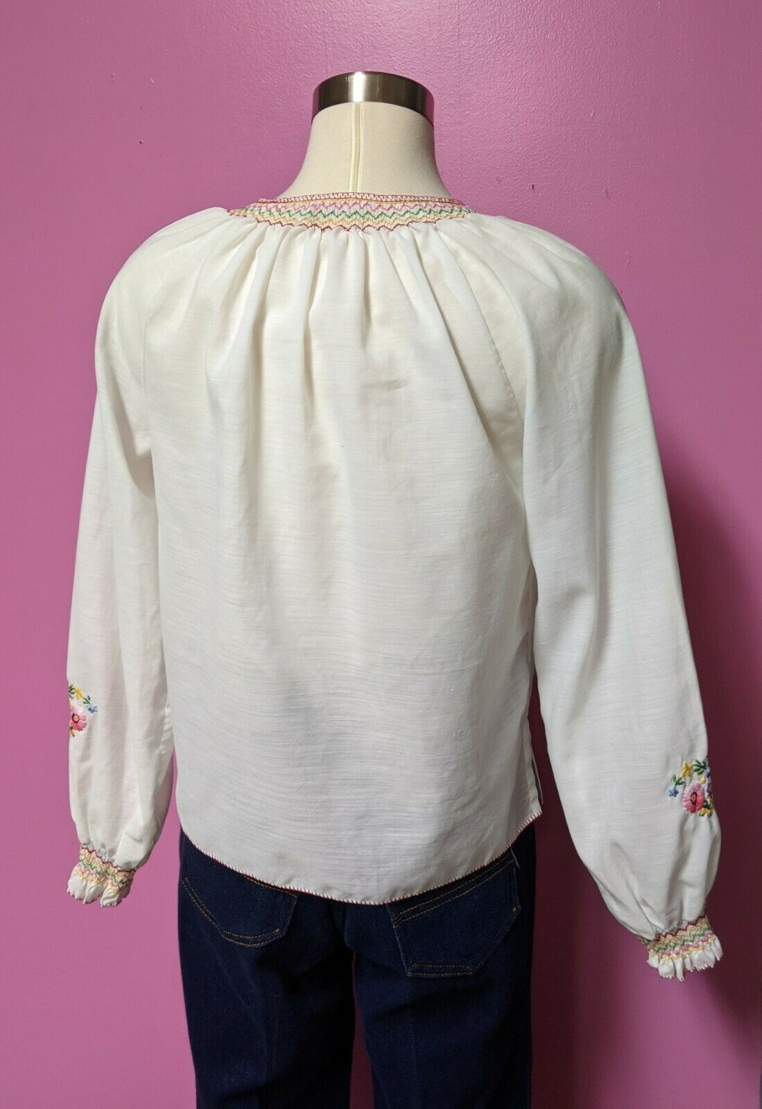Hungarian Folk Embroidered Blouse/Size XS/S/Peasa… - image 5
