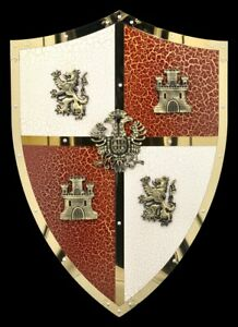 Knight-Shield-With-Lions-And-Castle-Emblem-Medieval-Knight-Coat-of-Arms-Decor