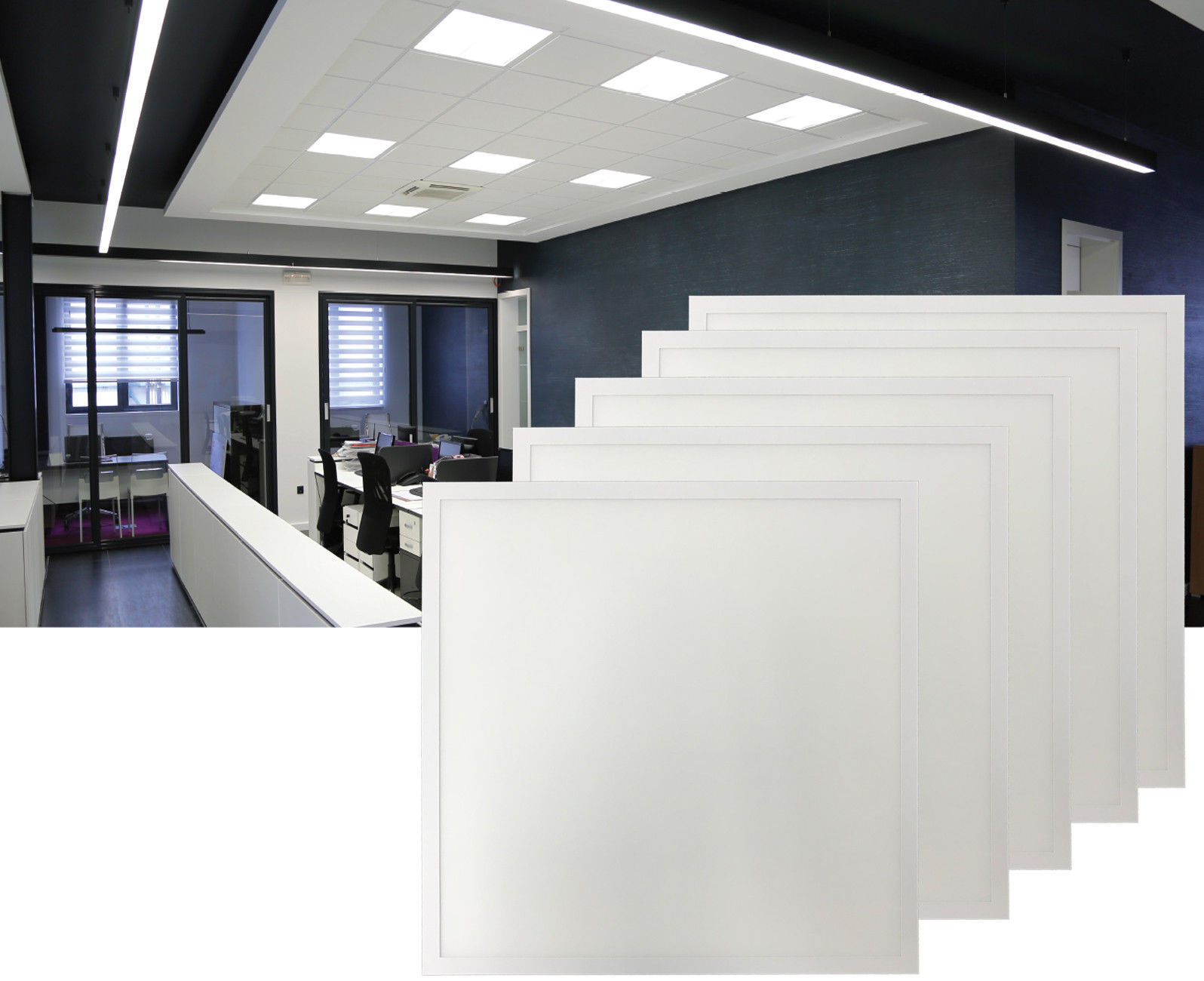 40W LED Panel 62x62cm Kaltweiß Slim Deckenleuchte Einbauleuchte Einbaupanel