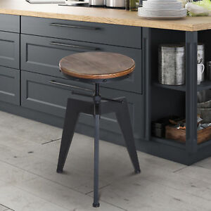 Bar-stool-Swivel-Chair-Industrial-Wooden-Top-Adjustable-Height-Pine-Wood-Steel