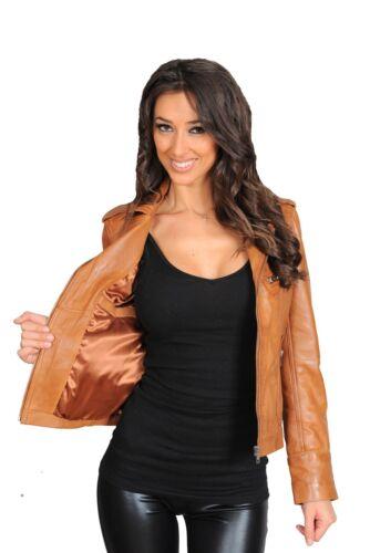 Veste brune cuir en pour claire femmes motard PPqHrwAS