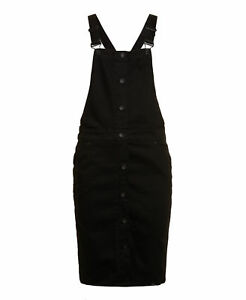 New-Womens-Superdry-Pencil-Dungaree-Dress-Black