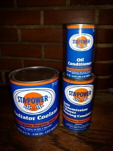 /& COOLANT OIL COND.,TRANS COND. SET OF 1960/'S NOS STA-POWER METAL PAINTED CANS