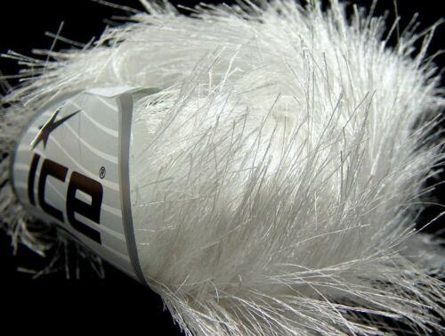 8 PELOTES DE LAINE ICE YARNS LONG EYELASH BLANC