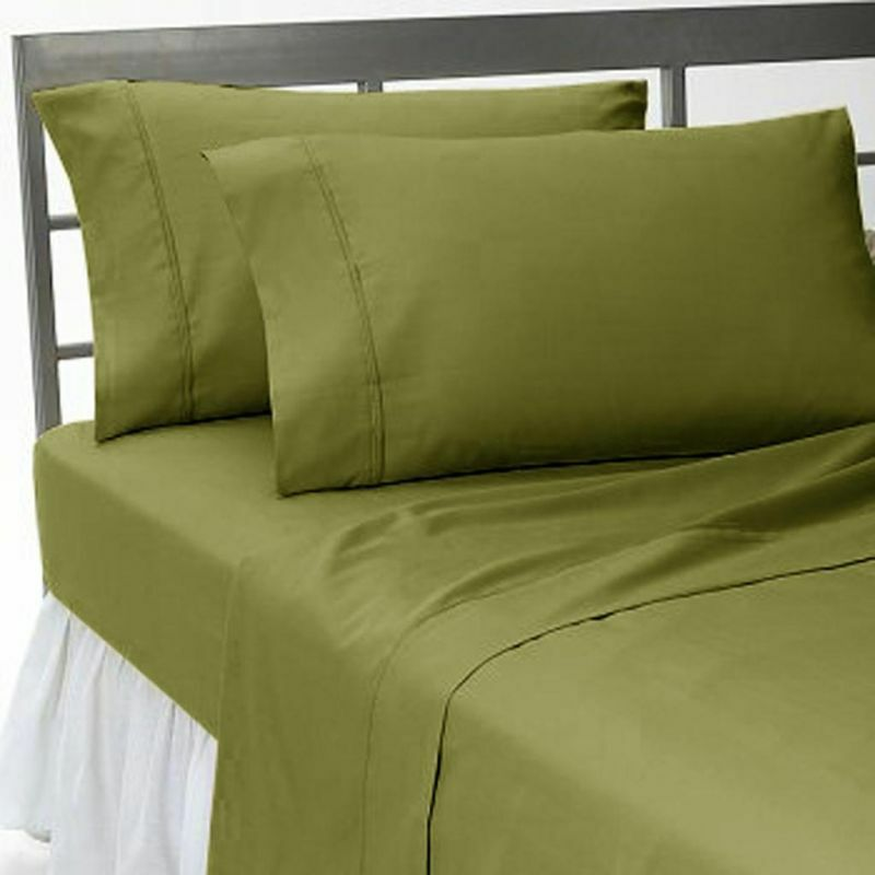 Home Linen Bedding Collection Egyptian Cotton 1000 Count US Size Moss Solid