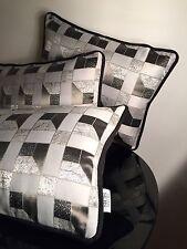 Sicis Mosaic Art Luxury Cushion Black Velvet Geometric Print Deco Pillow