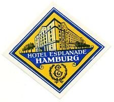 Hotel Esplanade ~HAMBURG GERMANY~ Beautiful Old Luggage Label, circa 1950