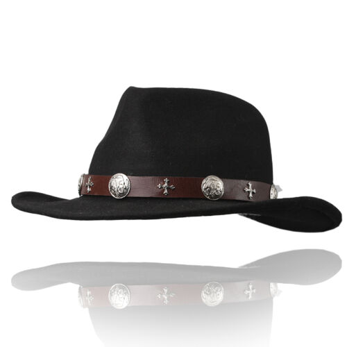 Fedora wool soft hat cap with Leather band concho cowboy H15BK BIKELIST