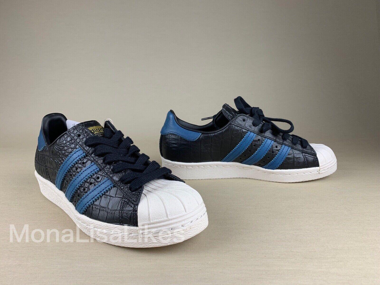 New ADIDAS Originals SUPERSTAR SUPERSTAR SUPERSTAR 80s Crocodile Embossed Black Sneakers shoes 37 59016b