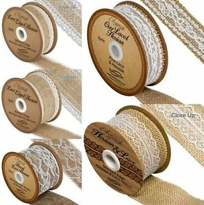 White-Ivory-Lace-Trim-Hessian-Ribbon-Natural-Burlap-Jute-26mm-36mm-50mm