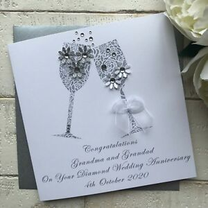 Nan /& Grandad 60th Diamond Wedding Anniversary Handmade Boxed Congratulations Card