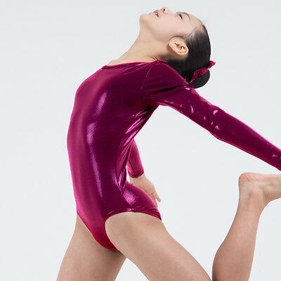 KYoon's Gymnastics Leotard New Solid Foil 4way Long Sleeve Child Adult Darkpink