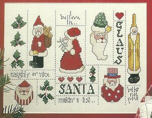 Santa-Sampler-Christmas-Cross-Stitch-Pattern-from-a-magazine-Ornaments-Pillows