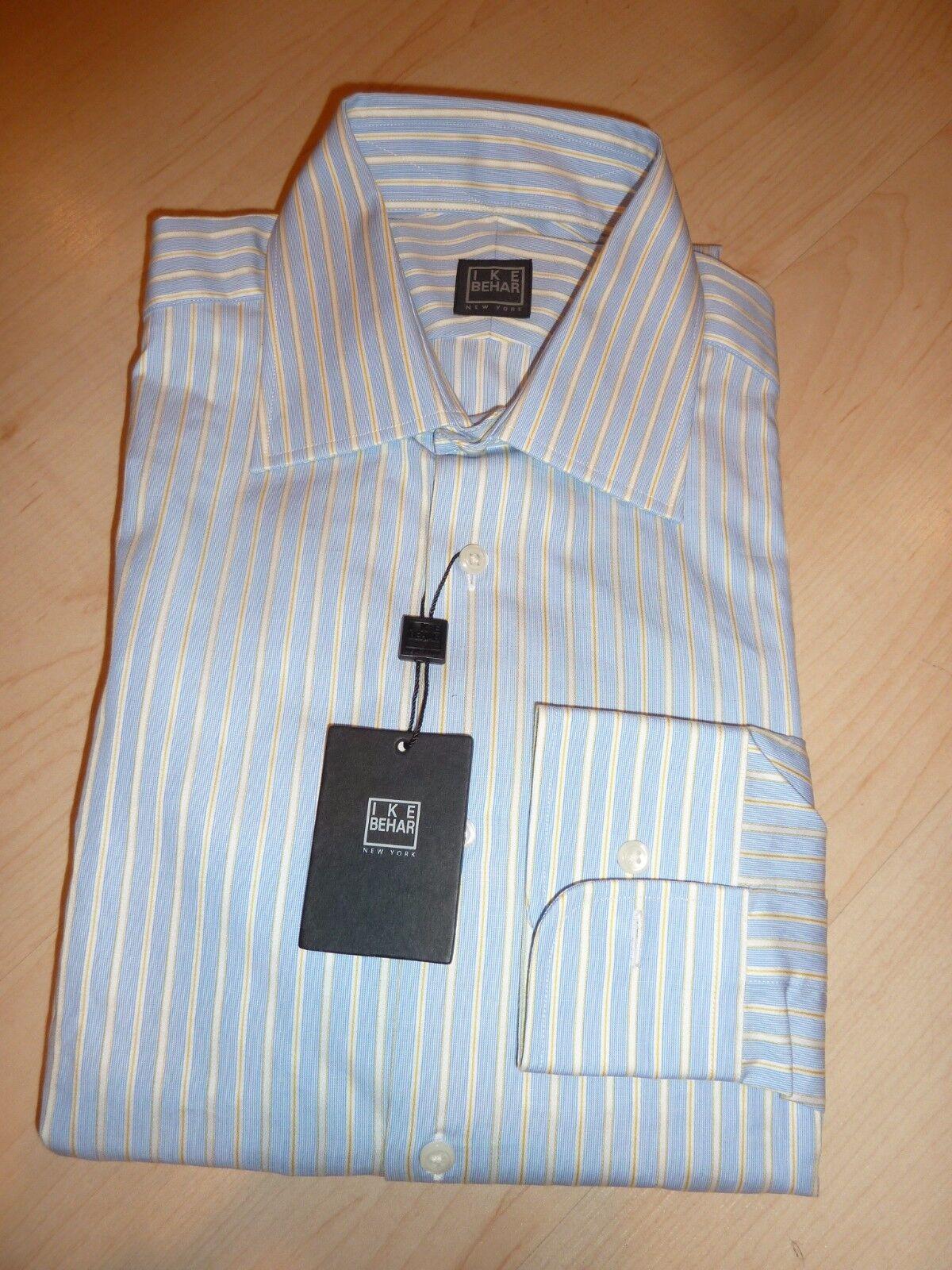NEW  190 IKE BEHAR herren hemd Sz 15.5 34 35 NWT 100% baumwolle Blau BC 2