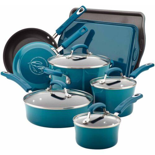 Rachael Ray Cookware Set 12 Piece Non Stick Hard Enamel Nonstick Pots and Pans