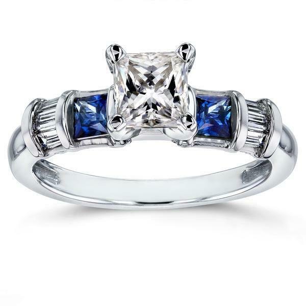 2.5Ct Princess Cut Diamond Sapphire Accent Engagement Ring 14K White gold Finish