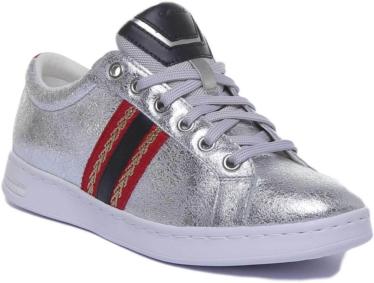 Geox Jaysen Women Crinkle Leather Metallic Silver Trainers UK Size 3 - 8