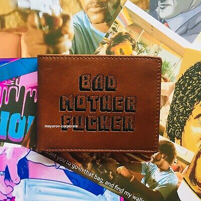 free CC wallet Bad Mother Fucker Wallet Embroidered 100/% Real Leather Tan