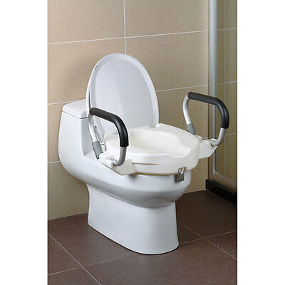 Raised Toilet Seat With Arms Lid Bathroom Safety Rail
