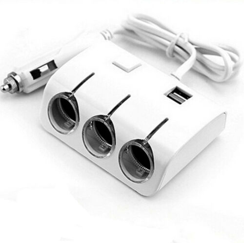 1X Car Dual USB 3 Way Port Cigar Lighter Charger Socket Adapter For Phone Tablet