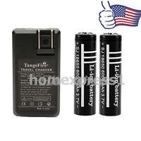 2PCS 18650 6000mAh 3.7V Li-ion Rechargeable Battery + US Dual Battery Charger E1