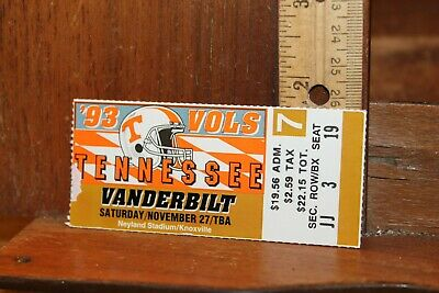 Vintage Ticket Stub UT Tennessee Vols Football 1993 vs ...