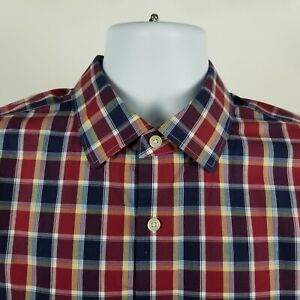 Banana-Republic-Non-Iron-Camden-Fit-Mens-Blue-Red-Check-Dress-Button-Shirt-Large