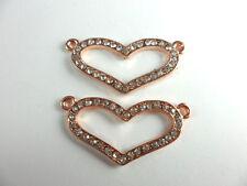 3 Copper Plated 2 Loop Rhinetsone Heart Connectors Findings 60790