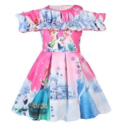Kids Girls Frozen Elsa Princess Costumes Causual Party Birthday Skater Dress